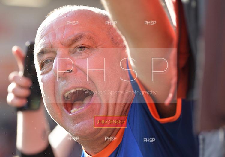 11/09/2021 Sky Bet Championship Blackpool v Fulham<br /> <br /> Fans celebrate victory