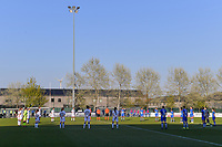 One minute of silence pictured before a female soccer game between  AA Gent Ladies and Club Brugge YLA on the third matchday of play off 1 in the 2020 - 2021 season of Belgian Scooore Womens Super League , friday 23 th of April 2020  in Oostakker , Belgium . PHOTO SPORTPIX.BE   SPP   STIJN AUDOOREN