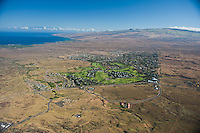 Aerial view of Waikoloa Village with N Kohala Mts behind