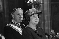 Augusto Pinochet y su esposa Lucia Hiriart asisten al Tedeum de fiestas patrias en la Catedral metropolitana.<br /> Santiago Chile 18 Septiembre1988<br /> <br /> Forty years ago, on September 11, 1973, a military coup led by General Augusto Pinochet toppled the democratic socialist government of Chile. President Salvador Allende was killed during the  attack to seize  La Moneda presidential palace.  In the aftermath of the coup, a quarter of a million people were detained for their political beliefs, 3000 were killed or disappeared and many thousands were tortured.<br /> Some years later in 1981, while Pinochet ruled Chile with iron fist, a young photographer called Juan Carlos Caceres started to freelance in the streets of Santiago and the poblaciones or poor outskirts, showing the growing resistance against the dictatorship. For the next 10 years Caceres photographed every single protest and social movement fighting for the restoration of democracy. He knew that his camera was his only weapon, he knew that his fate was to register the daily violence and leave his images for the History.<br /> In this days Caceres is working to rescue and organize his collection of images in the project Imagenes de la Resistencia   . With support of some Chilean official institutions, thousands of negatives are digitalized and organized to set up the more complete visual heritage of this  violent period of Chile´s history.