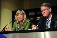 (L-R) England Rugby 2015 Chief Executive Debbie Jevans and IRB and RWCL Chairman Bernard Lapasset  during the Rugby World Cup 2015 Venues and Match Schedule Launch at Twickenham Stadium on Thursday 2nd May 2013 (Photo by Rob Munro)