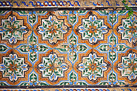 16th century Spanish Mudjar tiles from the Pavillion of Carlos V, Selivve Alcazar, Seville, Spain