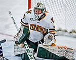1 December 2018: University of Vermont Catamount Goaltender Melissa Black, a Senior from Newmarket, Ontario, makes a second period save against the University of Maine Black Bears at Gutterson Fieldhouse in Burlington, Vermont. The Lady Cats defeated the Lady Bears 3-2 in the second game of their 2-game Hockey East series. Mandatory Credit: Ed Wolfstein Photo *** RAW (NEF) Image File Available ***