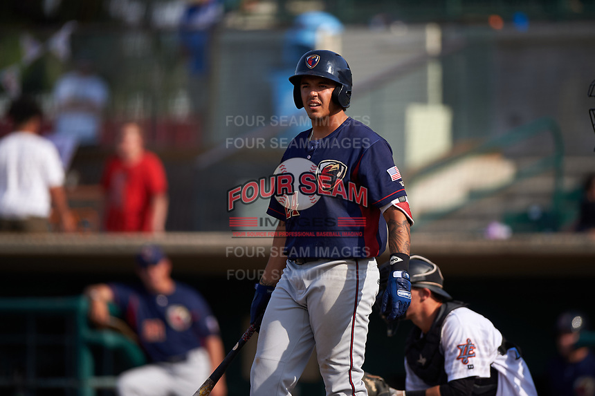 Lancaster JetHawks third baseman Colton Welker (24) at bat during a California League game against the Inland Empire 66ers at San Manuel Stadium on May 20, 2018 in San Bernardino, California. Inland Empire defeated Lancaster 12-2. (Zachary Lucy/Four Seam Images)