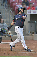 Cedar Rapids Kernels designated hitter Mitchell Kranson (20) swings during a game against the Wisconsin Timber Rattlers at Veterans Memorial Stadium on April 13, 2017 in Cedar Rapids, Iowa.  The Kernels won 2-1.  (Dennis Hubbard/Four Seam Images)