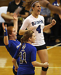 Marymount University players, from left, Brianne Fitzpatrick, Cassidie Watson and Michelle McCormick celebrate during first round action at the 6th annual Worthington Classic at Gallaudet University in Washington, D.C., on Friday, Sept. 28, 2012. .Photo by Cathleen Allison