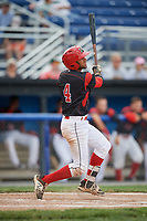 Batavia Muckdogs second baseman J.C. Millan (4) hits a double during a game against the West Virginia Black Bears on June 25, 2017 at Dwyer Stadium in Batavia, New York.  Batavia defeated West Virginia 4-1 in nine innings of a scheduled seven inning game.  (Mike Janes/Four Seam Images)
