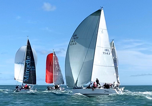 The first (and only) race in the Howth Autumn League provided one of 2020's most perfect sailing days for Simon Knowles' J/109 Indian chasing down three of the hot Howth Half Tonners. Photo: Judith Malcolm