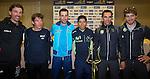 L-R Fabian Cancellara (SUI), Rigoberto Uran (COL), Vincenzo Nibali (ITA), Nairo Quintana (COL), Alberto Contador (ESP) and Peter Sagan (SVK) pictured with the winner's trophy at press conference to launch the 2015 Tirreno-Adriatico cycle race held in Lido di Camaiore, Lucca, Italy. 10th March 2015. Photo: ANSA/Claudio Peri/www.newsfile.ie