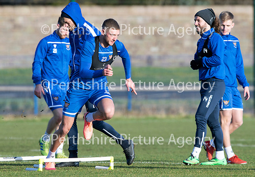 St Johnstone Training…….Liam Gordon pictured during training at McDiarmid Park ahead of tomorrow's SPFL fixture against Livingston.<br />Picture by Graeme Hart.<br />Copyright Perthshire Picture Agency<br />Tel: 01738 623350  Mobile: 07990 594431