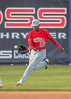 24 August 2016: Lowell Spinners outfielder and Baseball America top prospect Yoan Aybar in action against the Vermont Lake Monsters at Centennial Field in Burlington, Vermont. The Lake Monsters defeated the Spinners 5-3 in NY Penn League action. Mandatory Credit: Ed Wolfstein Photo *** RAW (NEF) Image File Available ***