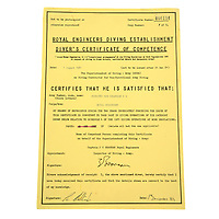 BNPS.co.uk (01202) 558833. <br /> Pic: Fellows/BNPS<br /> <br /> Pictured: Corporal Peter Melhuish's 1981 dive certificate. <br /> <br /> A former British Army diver is selling the wristwatch he wore during the raising of the Mary Rose for £26,000.<br /> <br /> Corporal Peter Melhuish, of the Royal Engineers, had the Rolex Submariner 5513 on when Henry VIII's famous warship was lifted from The Solent in 1982.<br /> <br /> He also wore the diver's wristwatch during operations off the Falkland Islands after Britain and Argentina went to war that year.<br /> <br /> Peter, from Tunbridge Wells, Kent, has owned the timepiece since 1979 and put it on regularly up until five years ago. Since then, it has been kept in his sock drawer and he has now decided to sell it with Fellows Auctioneers, of Birmingham.