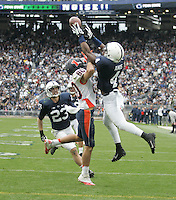 State College, PA - 11/02/2013:  PSU safety Adrian Amos (4) deflects a pass intended for Illinois WR Spencer Harris (80).  The deflection was then intercepted by safety Ryan Keiser (23) to end the OT period and the game.  Penn State defeated Illinois by a score of 24-17 in overtime on Saturday, November 2, 2013, at Beaver Stadium.<br /> <br /> Photos by Joe Rokita / JoeRokita.com