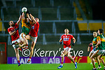 Paul Murphy, Kerry in action against Ruairi Deane, Cork, and Paul Walsh, Cork, during the Munster GAA Football Senior Championship Semi-Final match between Cork and Kerry at Páirc Uí Chaoimh in Cork.