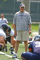 Al Groh during open spring practice for the Virginia Cavaliers football team August 7, 2009 at the University of Virginia in Charlottesville, VA. Photo/Andrew Shurtleff
