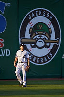 Jackson Generals left fielder Kelly Dugan (25) during a game against the Chattanooga Lookouts on April 27, 2017 at The Ballpark at Jackson in Jackson, Tennessee.  Chattanooga defeated Jackson 5-4.  (Mike Janes/Four Seam Images)