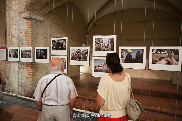 Exhibition of photographs of the 'Arab Spring'by Yuri Kozyrev at the Visa Pour L'Image festival of photojournalism, Perpignan, France.