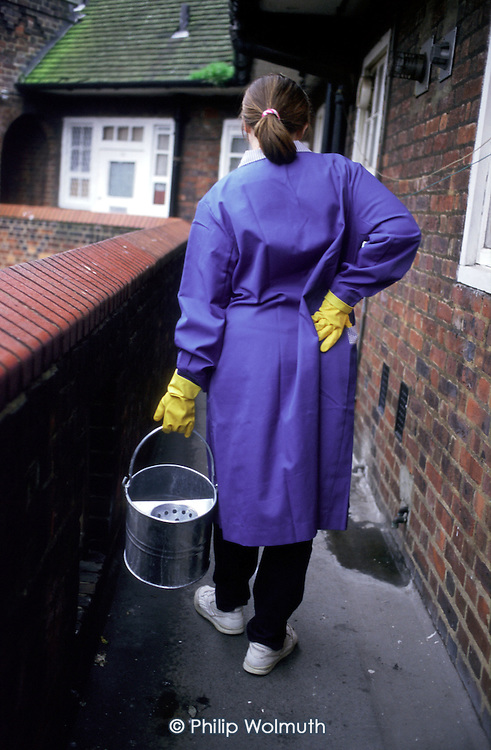 Caretaker on a council estate (posed by model)