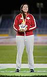 Renee Foessel, Toronto 2015 - Para Athletics // Para-athlétisme.<br /> Renee Foessel receives her  Silver medal for the Women's Shot Put F20/37/38 // Renee Foessel reçoit sa médaille d'argent pour le lancer du poids féminin F20/37/38. 12/08/2015.
