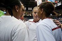 NORFOLK, VA--Senior Lindy La Rocque rallies her teammates before competition against Hampton University at the Ted Constant Convocation Center at Old Dominion University in Norfolk, VA in the first round of the 2012 NCAA Championships. The Cardinal advanced with a 73-51 win to play West Virginia on Monday, March 19.