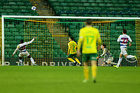 29th December 2020; Carrow Road, Norwich, Norfolk, England, English Football League Championship Football, Norwich versus Queens Park Rangers; Bright Osayi-Samuel of Queens Park Rangers misses an open goal and puts the ball over the bar