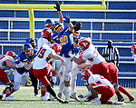 BROOKINGS, SD - MARCH 13: Ryan Van Marel #98 of the South Dakota State Jackrabbits blocks a field goal attempt by Colten McFadden #19 of the Youngstown State Penguins at Dana J. Dykhouse Stadium on March 13, 2021 in Brookings, South Dakota. (Photo by Dave Eggen/Inertia)