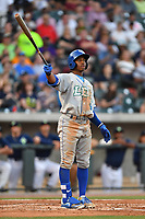 Right fielder Khalil Lee (9) of the Lexington Legends watches a ball go just foul in a game against the Columbia Fireflies on Friday, April 21, 2017, at Spirit Communications Park in Columbia, South Carolina. Columbia won, 5-0. (Tom Priddy/Four Seam Images)