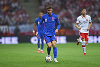 8th September 2021; PGE National Stadium, Warsaw, Poland: FIFA World Cup 2022 Football qualification, Poland versus England;  Mason Mount comes forward on the bal
