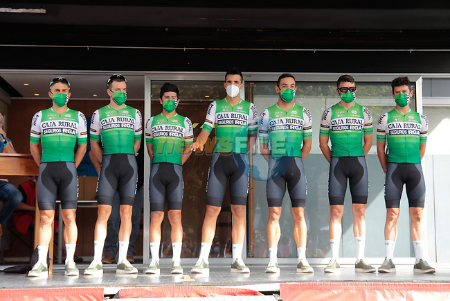 Caja Rural-Seguros RGA team at sign on before Stage 3 of the Route d'Occitanie 2020, running 163.5km from Saint-Gaudens to Col de Beyrède, France. 3rd August 2020. <br /> Picture: Colin Flockton | Cyclefile<br /> <br /> All photos usage must carry mandatory copyright credit (© Cyclefile | Colin Flockton)