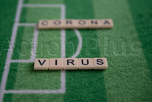 13th March 2020; Germany;  The words corona virus on a football background