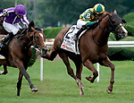 August 28, 2021: Gufo #2, ridden by jockey Joel Rosario holds off a fast closing Japan (GB) ridden by jockey Ryan Moore to win the Grade 1 Sword Dancer Stakes on the turf at Saratoga Race Course in Saratoga Springs, N.Y. on August 28th, 2021. Dan Heary/Eclipse Sportswire/CSM