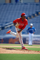 Philadelphia Phillies pitcher Jordi Martinez (73) during an Instructional League game against the Toronto Blue Jays on September 17, 2019 at Spectrum Field in Clearwater, Florida.  (Mike Janes/Four Seam Images)