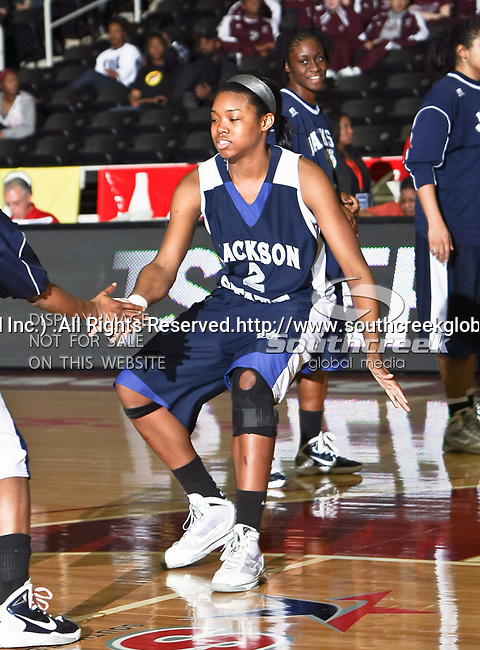 Jackson State Tigerettes forward Ayanna Hardy-Fuller (2) in action during the SWAC Tournament game between the Prairie View A&M Lady Panthers and the Jackson State Tigerettes  at the Special Events Center in Garland, Texas. Prairie View defeats Jackson State 56 to 40.