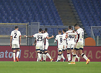Football, Serie A: AS Roma - Cagliari calcio, Olympic stadium, Rome, December 23, 2020. <br /> Cagliari's captain Joao Pedro (c) celebrates after scoring with his teammates during the Italian Serie A football match between Roma and Cagliari at Rome's Olympic stadium, on December 23, 2020.  <br /> UPDATE IMAGES PRESS/Isabella Bonotto
