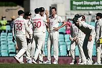 10th January 2021; Sydney Cricket Ground, Sydney, New South Wales, Australia; International Test Cricket, Third Test Day Four, Australia versus India; Josh Hazlewood of Australia celebrates with teammates the wicket of Shubman Gill of India