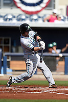 Daytona Tortugas catcher Joe Hudson (8) at bat during a game against the Charlotte Stone Crabs on April 14, 2015 at Charlotte Sports Park in Port Charlotte, Florida.  Charlotte defeated Daytona 2-0.  (Mike Janes/Four Seam Images)