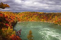 Whirlpool State Park (from aero car) Niagara riverbend, downstream Niagara Falls, and beautiful red, yellow, and orange autumn trees in Ontario Canada