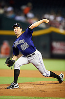 Colorado Rockies pitcher Jeff Francis #26 during a National League regular season game against the Arizona Diamondbacks at Chase Field on October 3, 2012 in Phoenix, Arizona. Colorado defeated Arizona 2-1. (Mike Janes/Four Seam Images)
