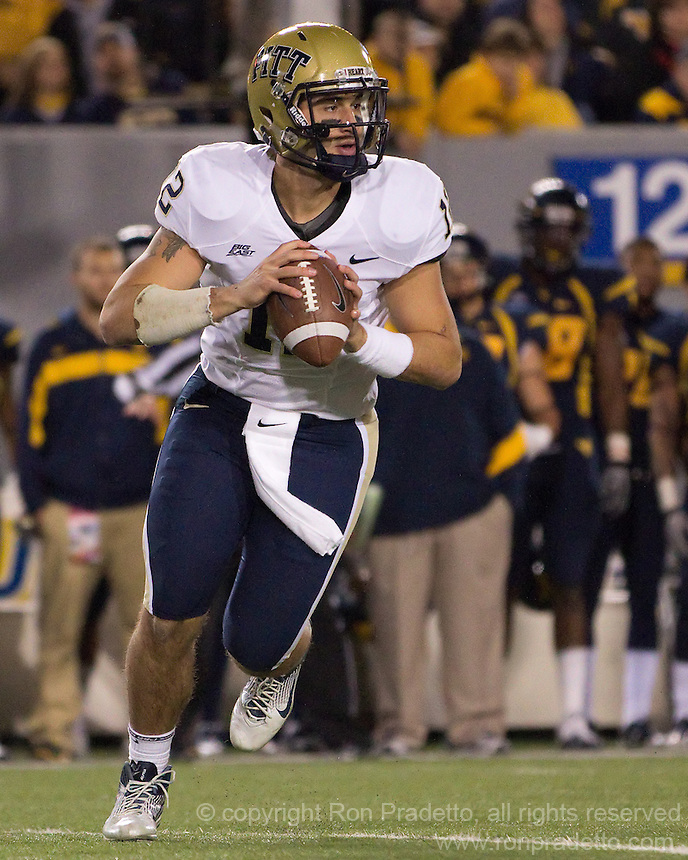 Pitt quarterback Tino Sunseri. The WVU Mountaineers beat the Pitt Panthers 21-20 at Mountaineer Field in Morgantown, West Virginia on November 25, 2011.
