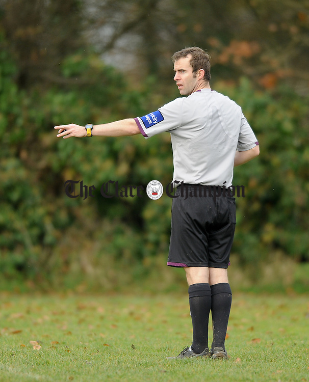 Referee Pa Gleeson during the game in Newmarket. Photograph by John Kelly.
