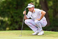 30th May 2021; Fort Worth, Texas, USA;  Ian Poulter lines up his putt on #8 during the final round of the Charles Schwab Challenge on May 30, 2021 at Colonial Country Club in Fort Worth, TX.