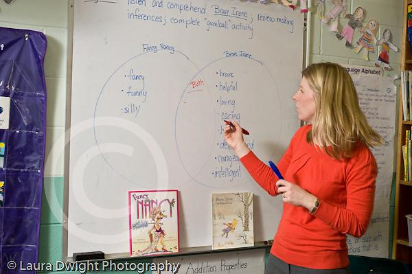 Education Elementary school Grade 2 English language arts female teacher using dry erase board to put up Venn diagram to illustrate concept to class horizontal
