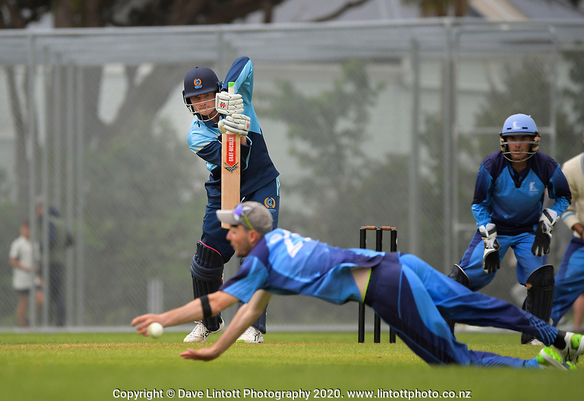 Action from the Ewen Chatfield One-day Trophy Wellington premier division one cricket match between Hutt District aand Johnsonville at Hutt Recreation Ground in Lower Hutt, New Zealand on Saturday, 21 November 2020. Photo: Dave Lintott / lintottphoto.co.nz