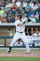 Slade Heathcott (26) of the Charlotte Knights at bat against the Scranton/Wilkes-Barre RailRiders at BB&T BallPark on July 20, 2016 in Charlotte, North Carolina.  The RailRiders defeated the Knights 14-2.  (Brian Westerholt/Four Seam Images)
