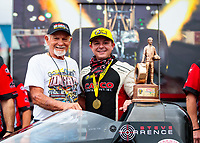 Sep 27, 2020; Gainesville, Florida, USA; NHRA top fuel driver Steve Torrence (right) celebrates with Don Garlits after winning the Gatornationals at Gainesville Raceway. Mandatory Credit: Mark J. Rebilas-USA TODAY Sports