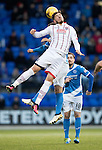 St Johnstone v Ross County… McDiarmid Park..     SPFL<br />Christopher Routis gets above David Wotherspoon<br />Picture by Graeme Hart.<br />Copyright Perthshire Picture Agency<br />Tel: 01738 623350  Mobile: 07990 594431