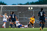 Sky Blue FC goalkeeper Brittany Cameron (1) dives for a shot. Sky Blue FC defeated the Boston Breakers 5-1 during a National Women's Soccer League (NWSL) match at Yurcak Field in Piscataway, NJ, on June 1, 2013.