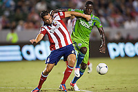 CARSON, California - August 25, 2012: The Seattle Sounders defeated CD Chivas USA 6-2 during a Major League Soccer (MLS) game at Home Depot Center stadium.