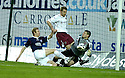29/12/2007    Copyright Pic: James Stewart.File Name : sct_jspa04_falkirk_v_hearts.STEVE BANKS SAVES AT THE FEET OF DEAN HOLDEN.James Stewart Photo Agency 19 Carronlea Drive, Falkirk. FK2 8DN      Vat Reg No. 607 6932 25.Office     : +44 (0)1324 570906     .Mobile   : +44 (0)7721 416997.Fax         : +44 (0)1324 570906.E-mail  :  jim@jspa.co.uk.If you require further information then contact Jim Stewart on any of the numbers above.........