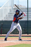 Cleveland Indians infielder Emmanuel Tapia (6) during an Instructional League game against the Texas Rangers on October 4, 2013 at Surprise Stadium Training Complex in Surprise, Arizona.  (Mike Janes/Four Seam Images)